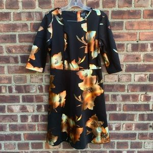 ECI Metallic Print Fit & Flare Dress
